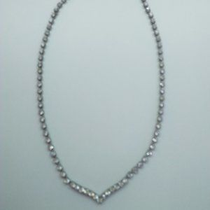Jewelry - Silver Rhinestone Necklace with Center Point
